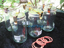 SET OF SIX  COMPLETE Fowlers Vacola #20 Preserving Jars standard LID CLIP RING