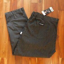 Nwt Chef Works Mens 3xl Black Striped Baggies Elastic Sides Flat Front Pants