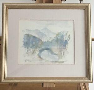 Andre Bicat Watercolour - A landscape with distant mountains
