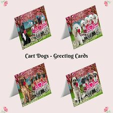 I Love Dog Cat in a Cart Greeting Cards,Pet Lovers Valentine invitation card