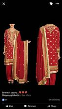Ritu Kumar three PC. Silk Salwar Suit In Red Color Special Occasion