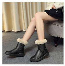 New Women's Round Toe Warm Fur Thick Zipper Ankle Boots Leather Winter Shoes sz