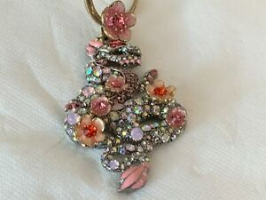 BETSEY  RHINESTONE & PINK ENAMEL  FLORAL PENDANT NECKLACE Very Colorful