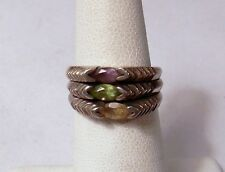 Set 3 Sterling 925 Stackable Multi Color Gemstone Rings Size 6 Peridot Amethyst