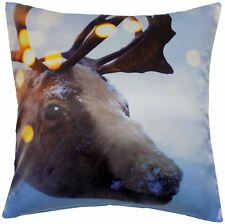 "FUNKY CHRISTMAS REINDEER STAG BRIGHT WHITE BROWN CUSHION COVER 17"" - 43CM"