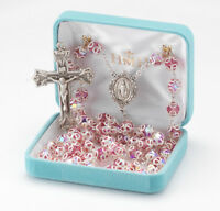 All Sterling Silver Rosary with 8mm Double Capped Pink Swarovski Crystal Beads