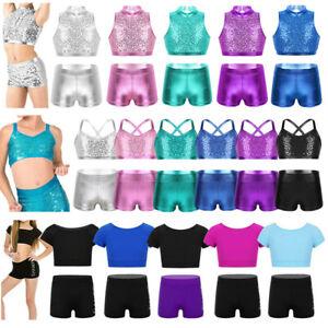 Girls Sequins Dancewear Kids Gymnastics Sports Crop Top+Shorts Ballroom Costumes