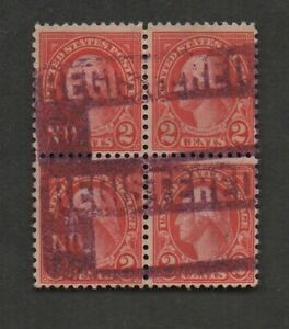 """US #634 block of 4, with 2 negative """"REGISTERED NO."""" markings.   Unusual.  Fine"""