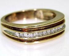 Striking 0.25ct Diamond 9ct Chocolate & Yellow Gold Band ring size V ~ 10 3/4