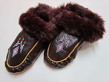 BEADED NATIVE AMERICAN MOCCASINS SLIPPERS 9 INCH DOUBLE SOLED FAUX FUR CUFF