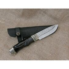 AWESOME CUSTOM HANDMADE KNIFE *HUNTER*  PLATED PATTERN + LEATHER SHEATH