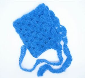 Blue Mohair Bonnet and Pant 2 piece Sitter Set for 6 month old Photo Prop