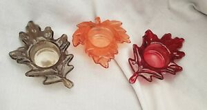 Set of 3 Autumn ~ Fall Glass Maple Leaves Tealight Holders New