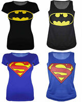 Superman Batman Print Ladies Varsity Vest T Shirt Top Size 08 10 12 14
