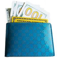 Gucci Authentic GG Guccissima Patent Leather Bifold Wallet Teal Blue W/ Box $585