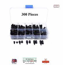 M3 300Pcs Nylon Black Hex Screw Nuts Spacer M-F Standoff Set Box Kit RC Parts UK