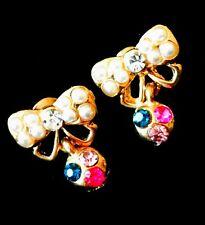 USA EARRING Rhinestone Crystal GEMSTONE Fashio unique cute gold Bowknot Pearl 2