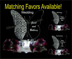 Personalized Butterfly Shape LED Wedding Anniversary Birthday Cake Top Acrylic