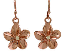 E050- Real SOLID 9K Rose Gold Genuine Natural Diamond Frangipani Drop Earrings