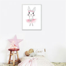 Cartoon Rabbit Canvas Wall Painting Poster Nursery Art Print Kid Bedroom Decor