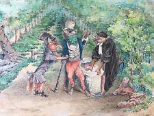 Peinture Aquarelle Le Loup plaidant contre le Renard par-devant le Singe 1893