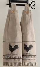 SAWYER MILL CHARCOAL POULTRY Kitchen Dish Towel Set of 2 Farmhouse Stencil VHC