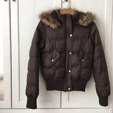 Denim & Co Dark Brown Puffa Short Jacket.  Size 8. Worn