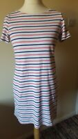 Joules Ladies T Shirt Style Dress Size 14 White Pink Blue Stripey