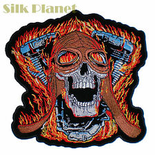 "8"" Skull V Twin Fire Rider Motor Motorcycle Biker Back Patch Vest MC Club XXL"