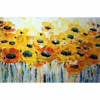 Yellow White SUMMER BLOOM Flowers Impasto Textured Abstract Floral Painting Art