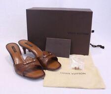 Louis Vuitton Brown Leather Open Toe Mule Kitten HEELS - 39 US 8.5