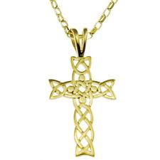 """Solide 9ct Or Croix Celtique avec 18"""" Or Chaîne Et Boite Cadeau"""