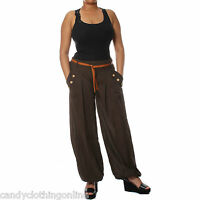 Harem Pants Trousers Ali Baba Plain Baggy Boho Hareem Leggings Size 8 10 12 16