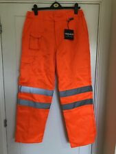 Mens Hercules Durable Workwear Orange Hi Vis Safety Trousers - 34L - New w/ tags
