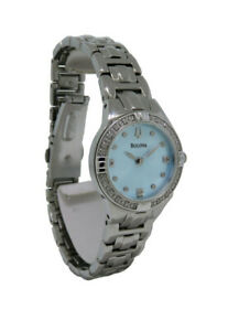 Bulova Diamonds 96R172 Women's Round Light Blue Analog Stainless Steel Watch