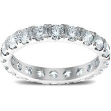 2 Anel De Diamante Eternidade cttw Split Pinos Feminino Aliança 14k Ouro Branco