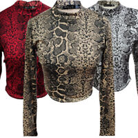 WOMEN'S -ROLL NECK- CROP TOP- SNAKE SKIN- SIZE 8 -14