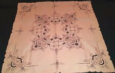 "NEW Madeira reticella appenzel embroidered tablecloth 31"" sq Portugal"