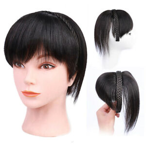 Headband Fringe Straight Neat Bangs With Braided Braids Clip In Hair Extensions