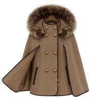 New Women Strench Parkas Poncho Fur Collar Jacket Cape Shawl Cloak Wool Coats