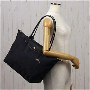 New Black Longchamp Le Pliage 1899 Nylon Tote Bag Horse Embroidery Size L