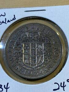 1934 New Zealand Half Crown Silver Coin!!