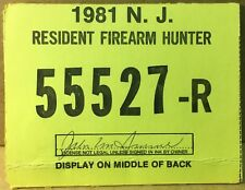 New Jersey 1981 Resident Firearm Hunting License - excellent condition - NJ