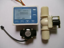 """NEW G3/4"""" Water Flow Control LCD Display+Flow Sensor Meter+Solenoid Valve Gauge"""