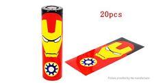 2 x 18650 Battery Sleeve PVC Heat Shrinkable Tube Wrap  18650, Iron Man