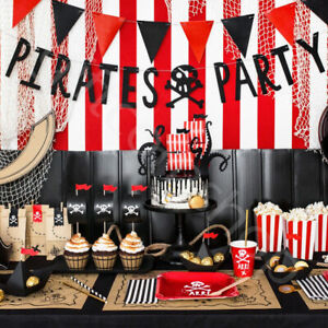 Pirate Theme Party Decorations Tableware Balloons Boys Kids Birthday Supplies