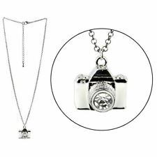 Vintage White Camera Style Pendant Necklace with Chain - Joe Cool Photographer