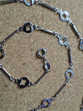 """1 x Silver Plated Alloy Necklace Chain - 16.5"""" - Squares & Bar Links"""