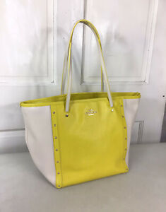 COACH Yellow Color Block Leather Tote Shoulder Bag