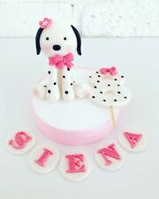 1 Edible Fondant Puppy Cake Topper Number & Name For Puppy Theme Birthday Cake